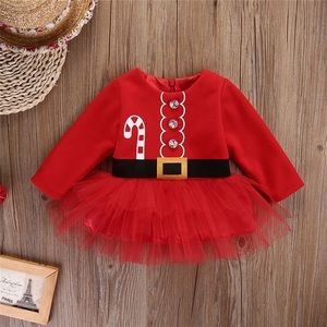 Baby Girl Christmas Stick Long-sleeve Tulle Dress